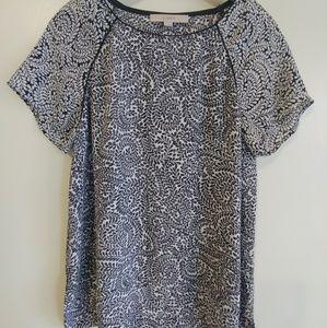 Loft black & white blouse